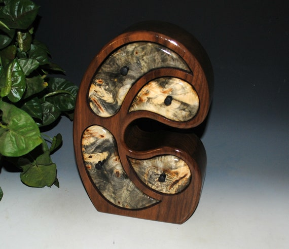 Handmade Wood Jewelry Box in our Madonna Style of Walnut and Buckeye Burl  by BurlWoodBox - Art With Function