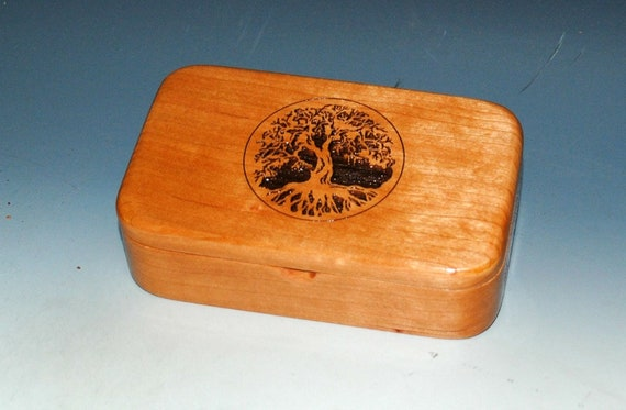 Wooden Box With Tree of Life Engraved on Cherry in Our Treasure Box Size - Sacred Tree Box