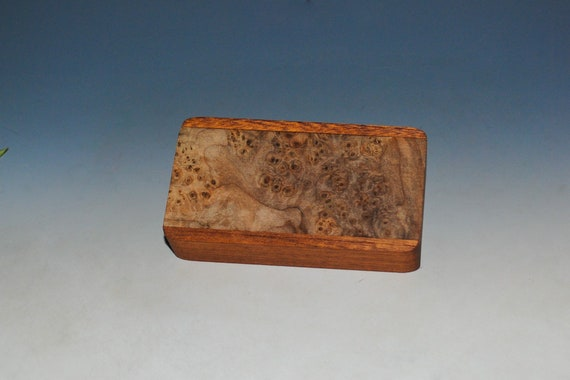 Slide Top Small Wood Box of Mahogany With Maple Burl - USA Made by BurlWoodBox With a Food Safe Finish