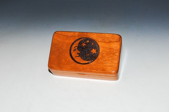 Small Wooden Box With Engraved Moon and Stars of Cherry by BurlWoodBox - Crescent Moon