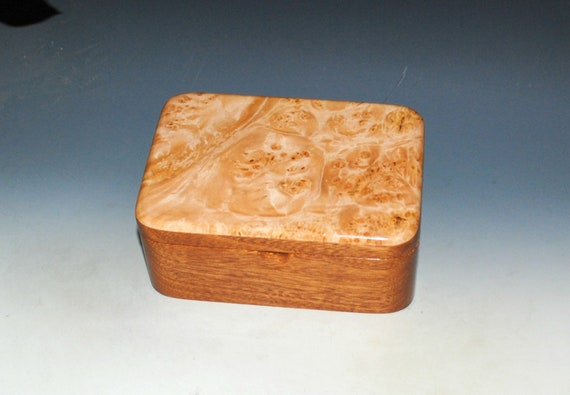 Small Wooden Box With Tray of Maple Burl on Mahogany - Handmade in the USA by BurlWoodBox