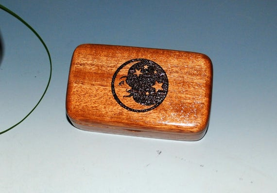 Mahognay Wooden Box With Moon & Stars Engraving - Handmade Small Wood Box by BurlWoodBox - Perfect Small Gift !