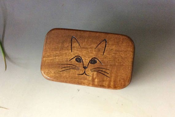 Wooden Box with Cat Face Engraved on Mahogany - Handmade In The USA BurlWodBox - The Purrfect Present For Feline Loving Freinds!