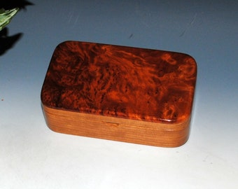 Handmade Wood Treasure Box - Small Wooden Box of Redwood Burl on Cherry - Stash Box, Keepsake Box, Jewelry Box, Wood Gift Box - Handmade Box
