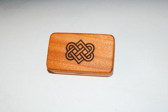 Small Wooden Box With Engraved Celtic Wedding Hearts on Mahogany - Food Grade Finish - Handmade by BurlWoodBox - Irish Wedding Hearts