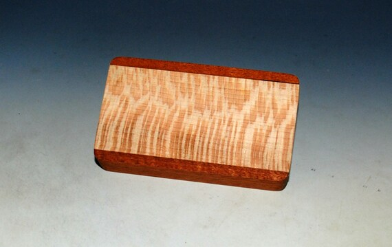 Slide Top Small Wood Box of Mahogany With Quartersawn Sycamore - USA Made by BurlWoodBox With a Food Safe Finish