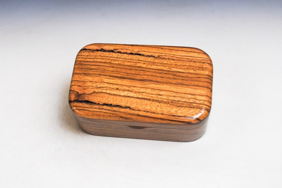 Wooden Trinket Box of Zebrawood & Walnut - Handmade in the USA by BurlWoodBox - Great Gift For Any Special Occasion