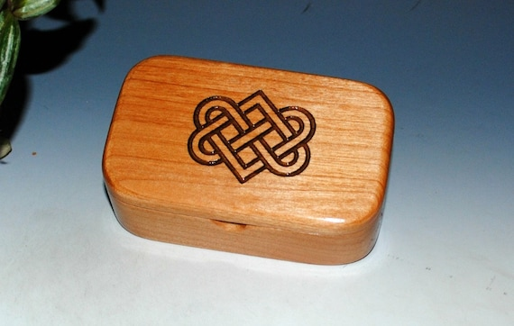 Celtic or Irish Love Knot Wood Box of Alder -  Handmade Wooden Trinket Box With Entwined Hearts by BurlWoodBox