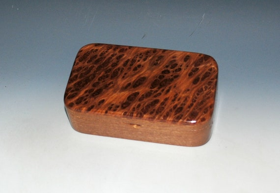 Wood Treasure Box of Mahogany with Redwood Burl - Handmade Small Wooden Box by BurlWoodBox - Great Gift For Anyone For Any Occasion !
