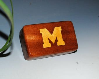 University of Michigan Wood Box - M Inlaid in Mahogany - Wooden Box, Alumni or Fan Box, Handmade Box by BurlWoodBox - Ann Arbor MI Wood Box