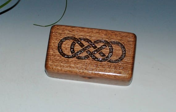 Small Wood Box - Double Infinity Knot Walnut Tiny Wooden Box- Gift Box,  Jewelry Box,  Keepsake Box by BurlWoodBox, Laser Engraved Box