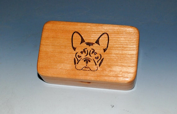 Small Wood Box With French Bulldog Engraved on Cherry by BurlWoodBox - Frenchie or Bulldog Box for a Gift !
