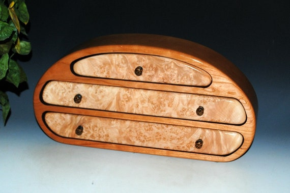 Handmade Wooden Jewelry Box With Drawers of Maple Burl on Cherry - Made in The USA by BurlWoodBox -Free Shipping on this Unique Holiday Gift