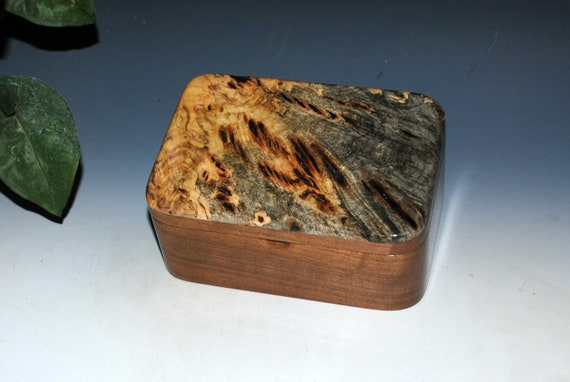 Wooden Box with Tray in Walnut and Buckeye Burl - Handmde Wood Box For a Gift, Your Desk or Jewelry