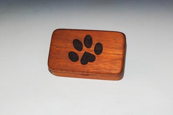 Small Wooden Box With Paw Print Heart Box of Mahogany - Handmade Tiny Wood Box by BurlWoodBox - Food Grade Finish