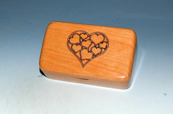 Small Wooden Box With Engraved Hearts on Cherry - Handmade in The USA by BurlWodBox - Perfect For USB Thumb Drives or Jewelry Gifts