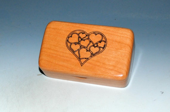Small Wooden Box With Engraved Hearts on Cherry - Handmade in The USA by BurlWodBox - SALE !
