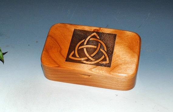 Triquetra Wooden  Box - Celtic Triangle Wood Box-Laser Engraved Alder- Trinket Box-Stash Box-Jewelry Box by BurlWoodBox - Engraved Wood Box