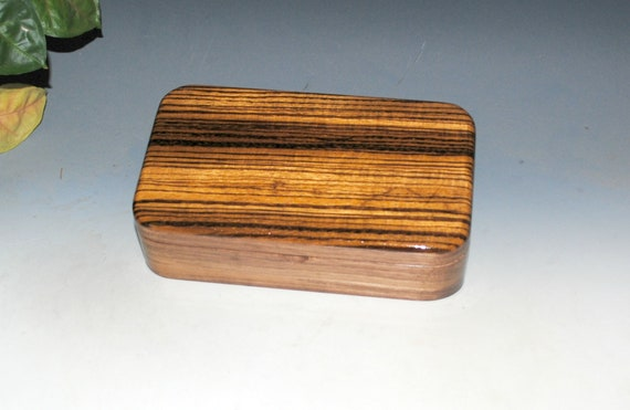 Small Wood Box of Zebrawood on Walnut - Handmade Wooden Box With Hinged Lid by BurlWoodBox - Great Guy Gift !