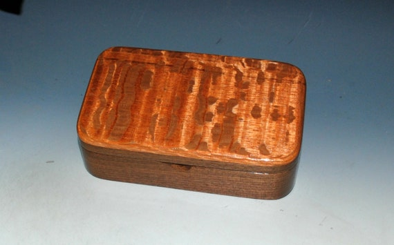 Handmade Wooden Box - Small Wood Treasure Box of Lacewood on Walnut by BurlWoodBox - Great Guy Choice!