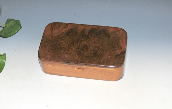 Wood Treasure Box of Mahogany with Redwood Burl - Wooden Box With Lid - Handmade Gift !