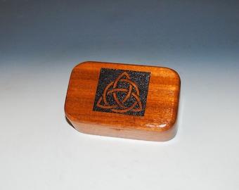 Wooden Box with Engraved Triquetra of Mahogany - Handmade Wood Trinket Box By BurlWood Box - Trinity Knot