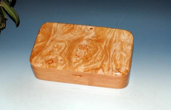 Handmade Wood Box -  Wooden Box of Maple Burl on Cherry - Wood Stash Box, Burl Wood Box, Gift Box, Treasure Box, Jewelry Box by BurlWoodBox