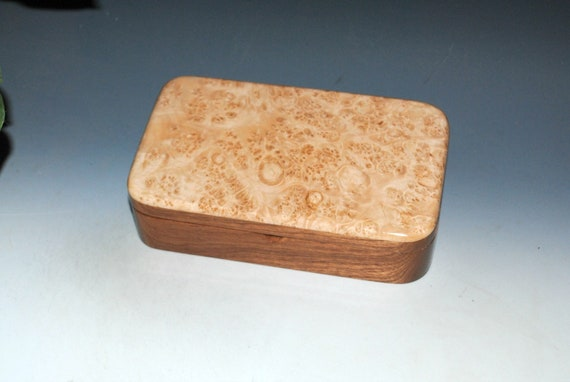 Wooden Box Of Maple Burl on Mahogany With Hinged Lid - Handmade Wood Box by BurlWoodBox