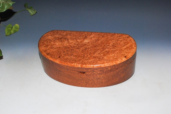 Wooden Box of Maple Burl & Mahogany With Lid and Tray - Kidney Shaped Box by BurlWoodBox