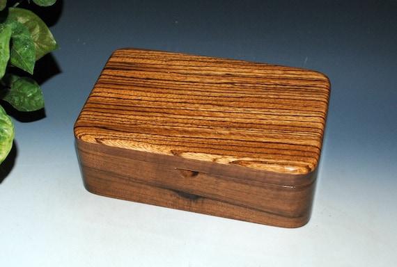 Zebrawood on Walnut Wooden Box - Stash Box - a Guy Favorite ! Handmade By BurlWoodBox