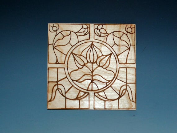 SALE 4 Laser Cut Stained Glass Style Coasters of Cherry - Art Deco Style Laser Engraved Coaster- Wood Coaster Set- On Sale and Free Shipping