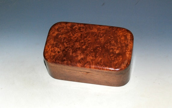 Redwood Burl on Walnut Handmade Wooden Trinket Box by BurlWoodBox