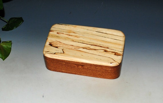 Wooden Treasure Box of Mahogany & Spalted Elm - Handmade in The USA by BurlWoodBox - Small Jewelry Box