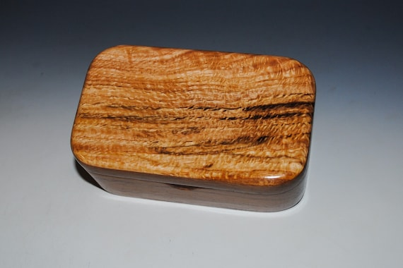 Spalted Red Oak on Walnut Wooden Trinket Box - Handmade in the USA by BurlWoodBox - Great Gift !