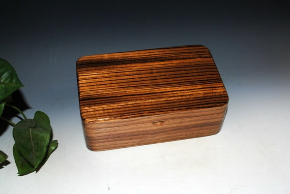 Zebrawood on Walnut Wooden Box - Stash Box - a Guy Favorite ! Handmade By BurlWoodBox