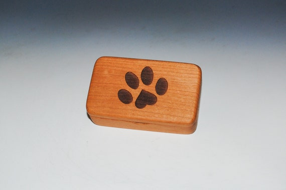 Small Wooden Box With Paw Print on Cherry -  Handmade Tiny Wood Box With Food Grade Finish