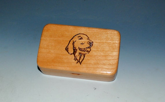 Golden Retriever Engraved on Small Wood Box of Cherry by BurlWoodBox - Dog Lover Gift  - 8 bucks off- Discontinued Design