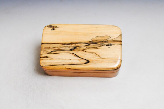 Very Small Wooden Box of Cherry With Spalted Maple - Handmade by BurlWoodBox in the USA