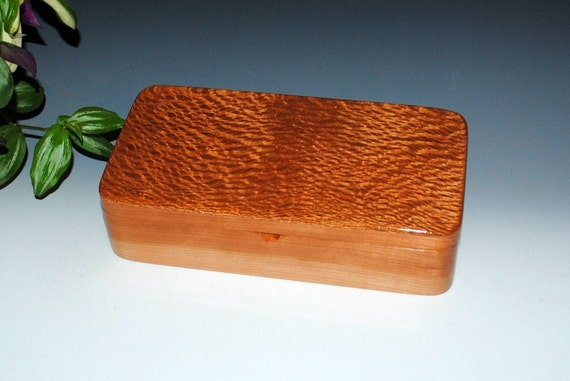 Handmade Wooden Box With a Slide Tray -Lacewood on Cherry by BurlWoodBox- Jewelry Box, Stash Box, Desk Box, Wood Jewelry Box, Wood Gift Box