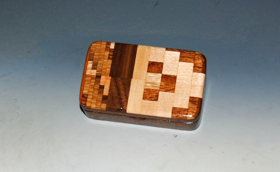 Small Wooden Box of Mahogany with a Patterned Top -  Handmade in the USA by BurlWoodBox