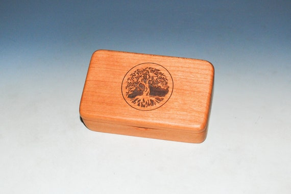 Small Wooden Box With Tree of Life on Cherry -  Handmade Tiny Wood Box With Food Grade Finish