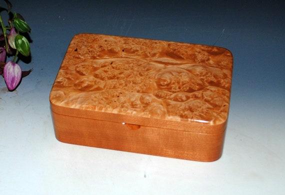 Handmade Wood Box -Stash Box - Cherry and Maple Burl - Jewelry Box, Treasure Box,  Keepsake Box, Wooden Jewelry Box, Wooden Box, Memory Box