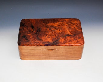 Wood Stash Box of Redwood Burl on Walnut by BurlWoodBox -  A Very Popular Wooden Gift For Men !