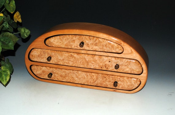 Handmade Wooden Jewelry Box With Drawers of Maple Burl on Cherry - Made in The USA by BurlWoodBox