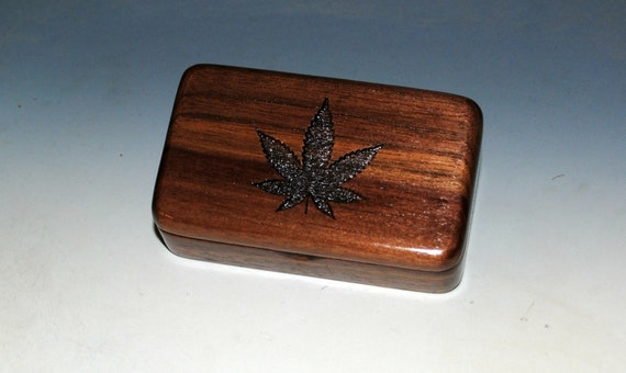 Small Wooden Box With Cannabis Leaf Engraved on Walnut - Handmade by BurlWoodBox for Jewelry, Stash or as a Gift - Marijuana Box