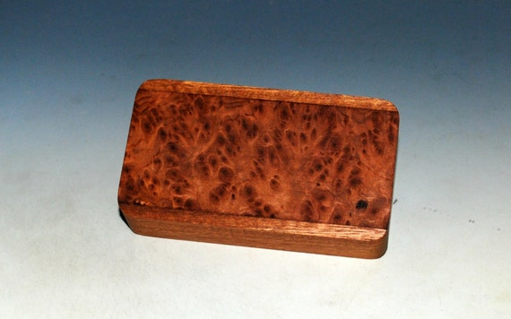 Slide Top Small Wood Box of Mahogany With Redwood Burl - USA Made by BurlWoodBox With a Food Safe Finish