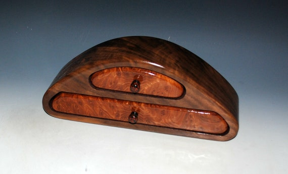 Wooden Jewelry Box of Redwood Burl on Walnut With Two Drawers by BurlWoodBox - USA Made Gift !
