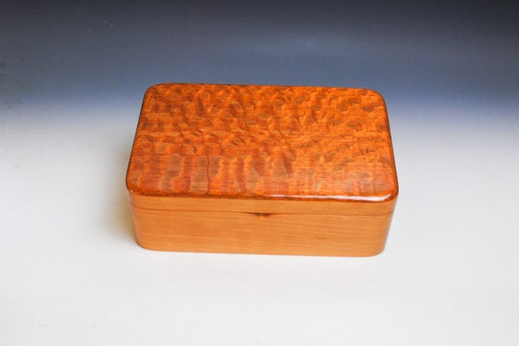 Wood Stash Box or Jewelry Box of Lacewood on Cherry - Handmade in the USA by BurlWoodBox