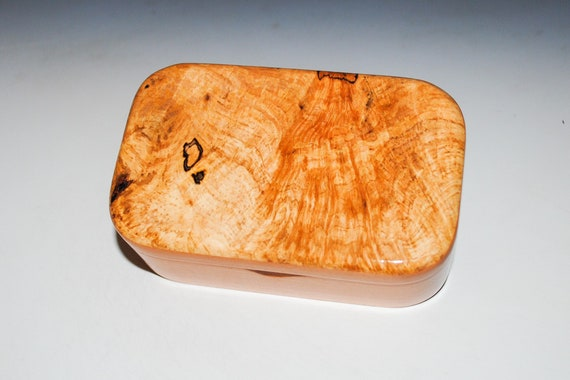 Spalted Maple on Cherry Wooden Trinket Box - Handmade in the USA by BurlWoodBox - Great Gift !