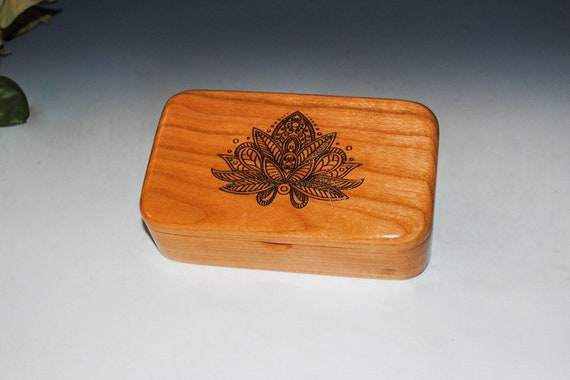 Lotus Flower Laser Engraved Cherry Wood Treasure Box - Handmade by BurlWoodBox